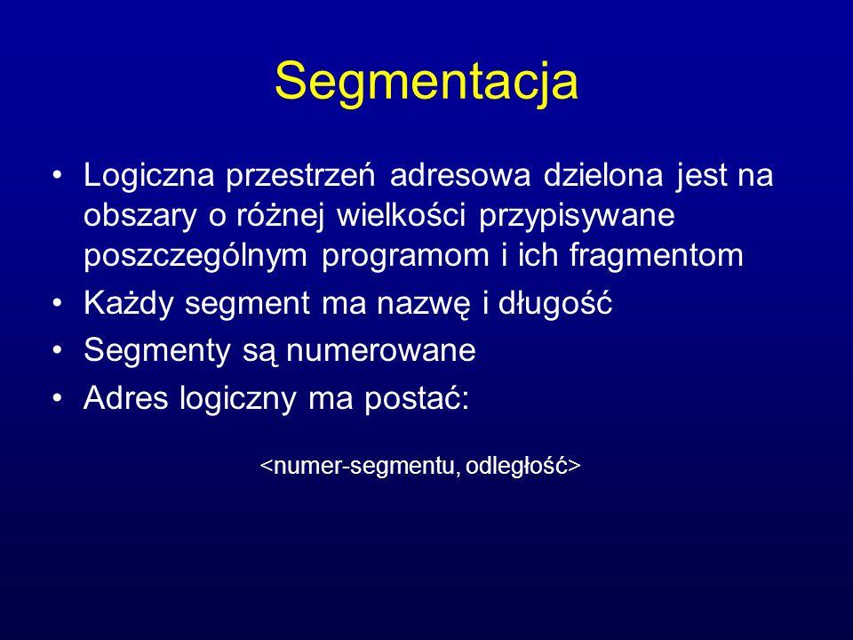 Segmentacja Logiczna przestrzeń adresowa dzielona jest na obszary o różnej wielkości przypisywane poszczególnym programom i ich fragmentom Każdy segme
