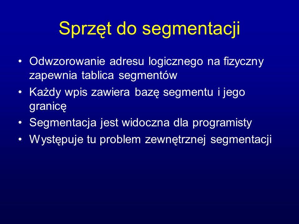 Sprzęt do segmentacji Odwzorowanie adresu logicznego na fizyczny zapewnia tablica segmentów Każdy wpis zawiera bazę segmentu i jego granicę Segmentacj