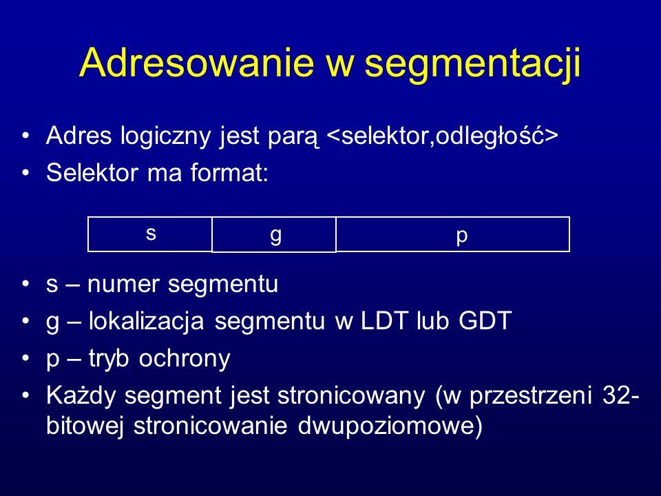 Adresowanie w segmentacji Adres logiczny jest parą Selektor ma format: s – numer segmentu g – lokalizacja segmentu w LDT lub GDT p – tryb ochrony Każd