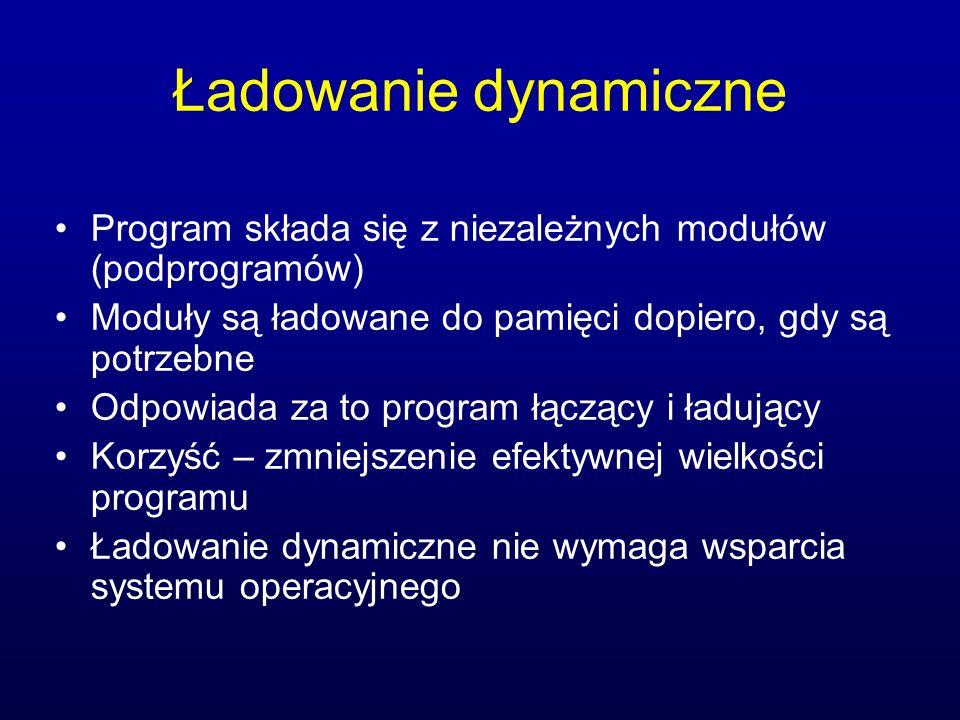 Ładowanie dynamiczne Program składa się z niezależnych modułów (podprogramów) Moduły są ładowane do pamięci dopiero, gdy są potrzebne Odpowiada za to