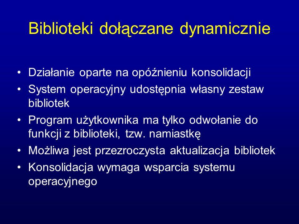 Biblioteki dołączane dynamicznie Działanie oparte na opóźnieniu konsolidacji System operacyjny udostępnia własny zestaw bibliotek Program użytkownika