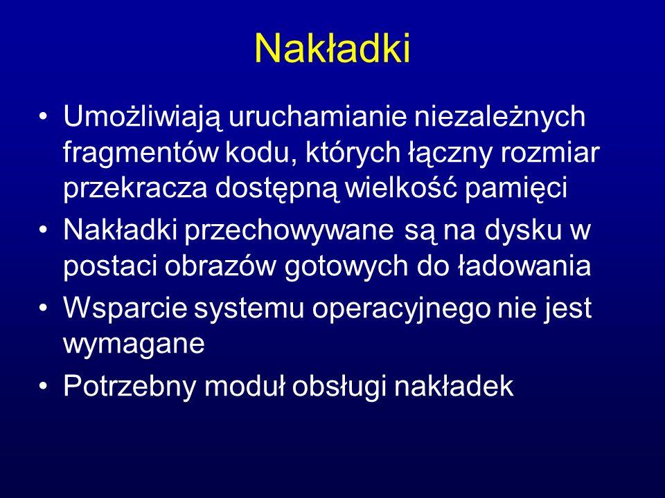 Ilustracja nakładek Przebieg 1 20KB Tablica symboli Wspólne podprogramy Moduł obsługi nakładek Przebieg 2 30KB 10KB 80KB 70KB Dostępna pamięć: 150 KB