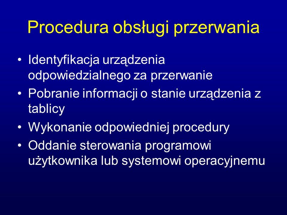 Procedura obsługi przerwania Identyfikacja urządzenia odpowiedzialnego za przerwanie Pobranie informacji o stanie urządzenia z tablicy Wykonanie odpow