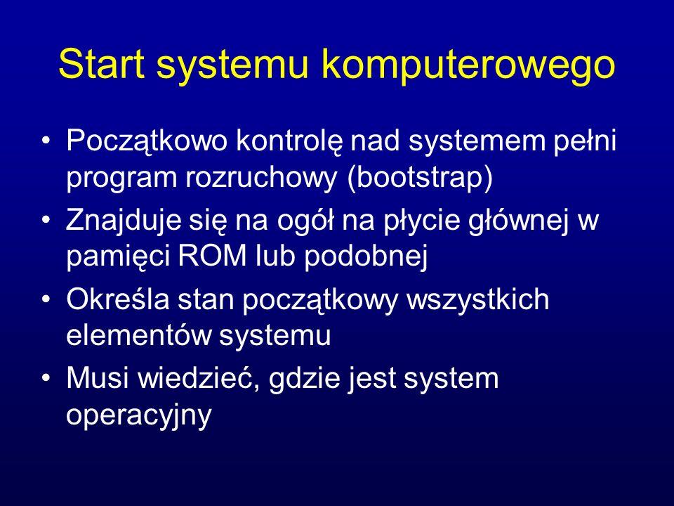 Start systemu komputerowego Początkowo kontrolę nad systemem pełni program rozruchowy (bootstrap) Znajduje się na ogół na płycie głównej w pamięci ROM