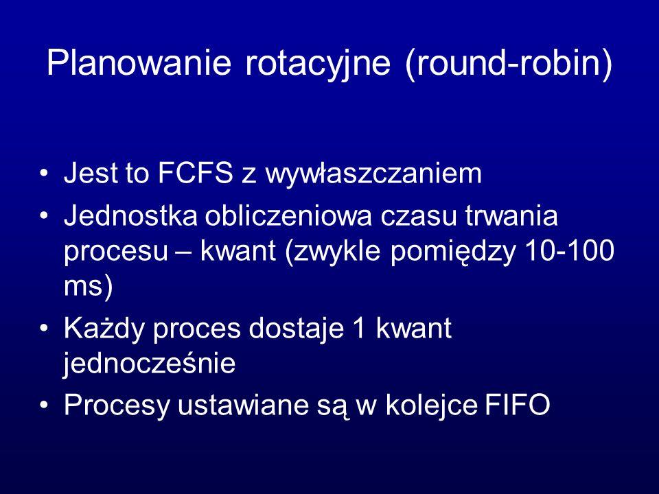 Planowanie rotacyjne (round-robin) Jest to FCFS z wywłaszczaniem Jednostka obliczeniowa czasu trwania procesu – kwant (zwykle pomiędzy 10-100 ms) Każd