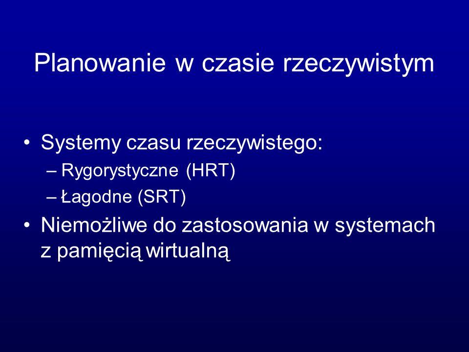 Planowanie w czasie rzeczywistym Systemy czasu rzeczywistego: –Rygorystyczne (HRT) –Łagodne (SRT) Niemożliwe do zastosowania w systemach z pamięcią wi