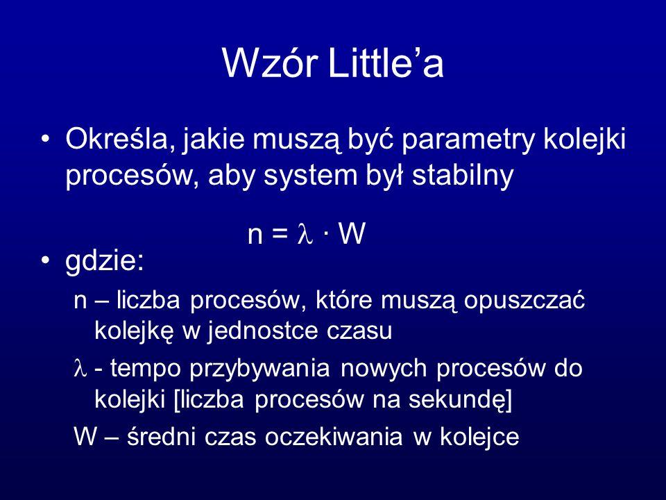 Wzór Littlea Określa, jakie muszą być parametry kolejki procesów, aby system był stabilny gdzie: n – liczba procesów, które muszą opuszczać kolejkę w
