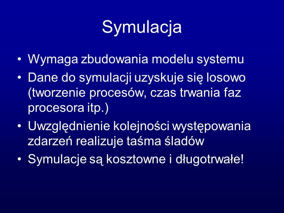 Symulacja Wymaga zbudowania modelu systemu Dane do symulacji uzyskuje się losowo (tworzenie procesów, czas trwania faz procesora itp.) Uwzględnienie k