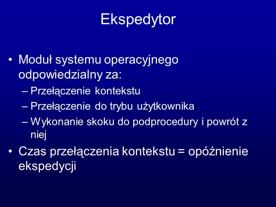 Ekspedytor Moduł systemu operacyjnego odpowiedzialny za: –Przełączenie kontekstu –Przełączenie do trybu użytkownika –Wykonanie skoku do podprocedury i