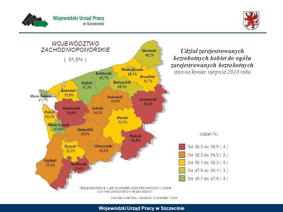 Rejestracje bezrobotnych w podziale na płeć w województwie zachodniopomorskim w latach 2008 - 2010