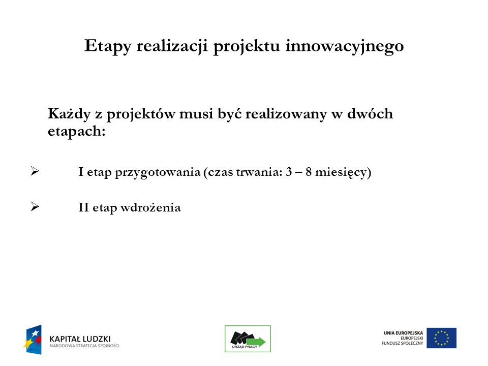 15 Etapy realizacji projektu innowacyjnego Każdy z projektów musi być realizowany w dwóch etapach: I etap przygotowania (czas trwania: 3 – 8 miesięcy) II etap wdrożenia
