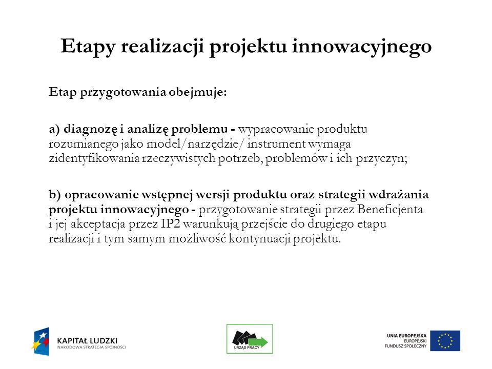 16 Etapy realizacji projektu innowacyjnego Etap przygotowania obejmuje: a) diagnozę i analizę problemu - wypracowanie produktu rozumianego jako model/narzędzie/ instrument wymaga zidentyfikowania rzeczywistych potrzeb, problemów i ich przyczyn; b) opracowanie wstępnej wersji produktu oraz strategii wdrażania projektu innowacyjnego - przygotowanie strategii przez Beneficjenta i jej akceptacja przez IP2 warunkują przejście do drugiego etapu realizacji i tym samym możliwość kontynuacji projektu.