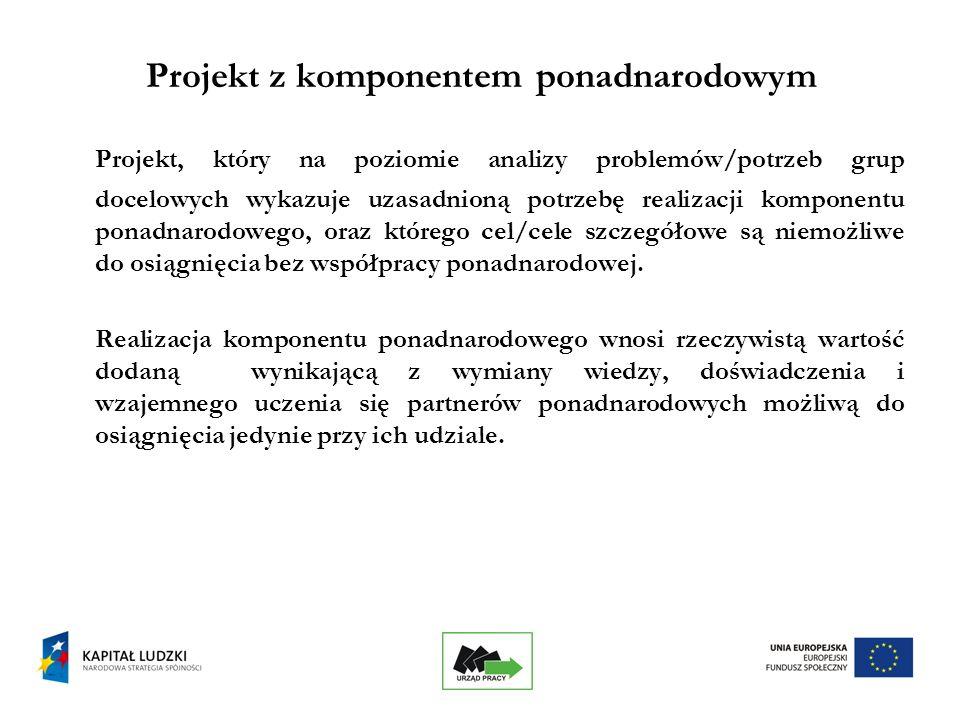 19 Projekt z komponentem ponadnarodowym Projekt, który na poziomie analizy problemów/potrzeb grup docelowych wykazuje uzasadnioną potrzebę realizacji komponentu ponadnarodowego, oraz którego cel/cele szczegółowe są niemożliwe do osiągnięcia bez współpracy ponadnarodowej.