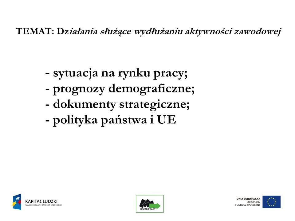 25 TEMAT: Działania służące wydłużaniu aktywności zawodowej - sytuacja na rynku pracy; - prognozy demograficzne; - dokumenty strategiczne; - polityka państwa i UE