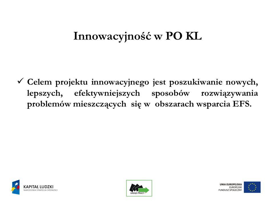 14 Podstawowe cechy projektu innowacyjnego testującego w PO KL c.