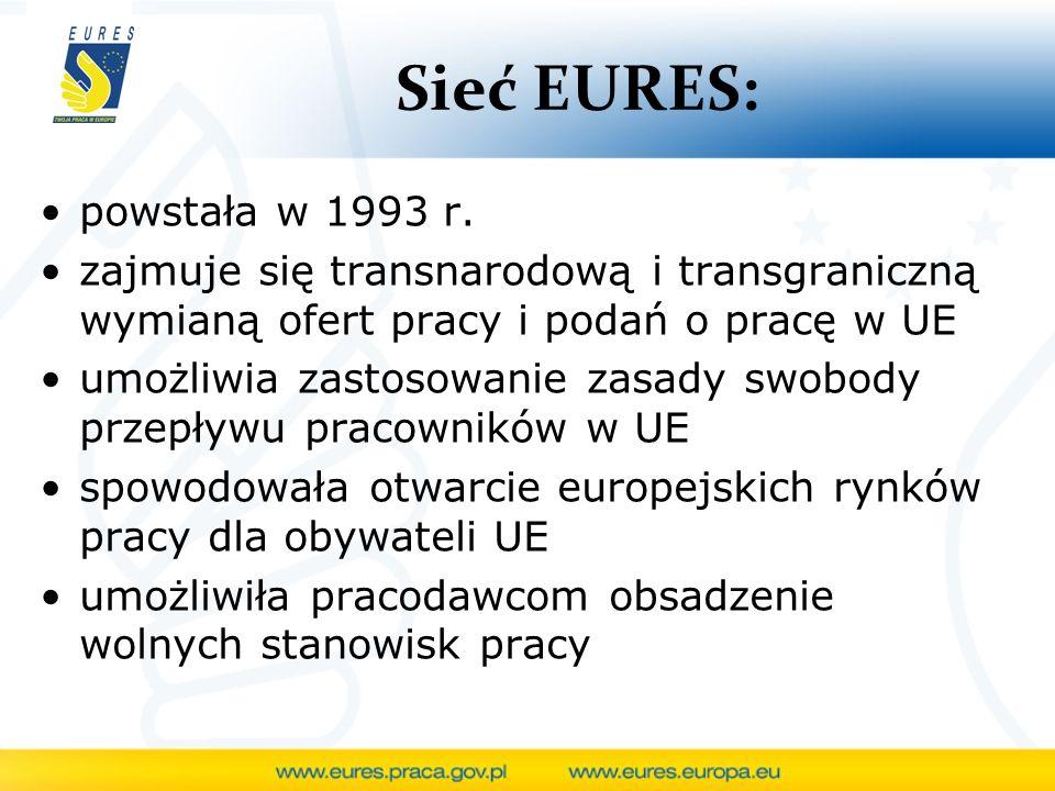 Sieć EURES: powstała w 1993 r. zajmuje się transnarodową i transgraniczną wymianą ofert pracy i podań o pracę w UE umożliwia zastosowanie zasady swobo