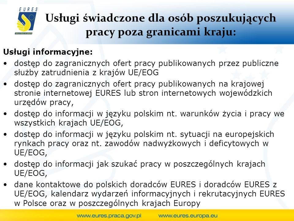 Usługi świadczone dla osób poszukujących pracy poza granicami kraju: Usługi informacyjne: dostęp do zagranicznych ofert pracy publikowanych przez publ
