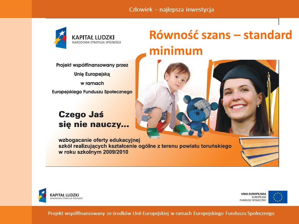 Człowiek – najlepsza inwestycja Projekt współfinansowany ze środków Unii Europejskiej w ramach Europejskiego Funduszu Społecznego Równość szans – standard minimum