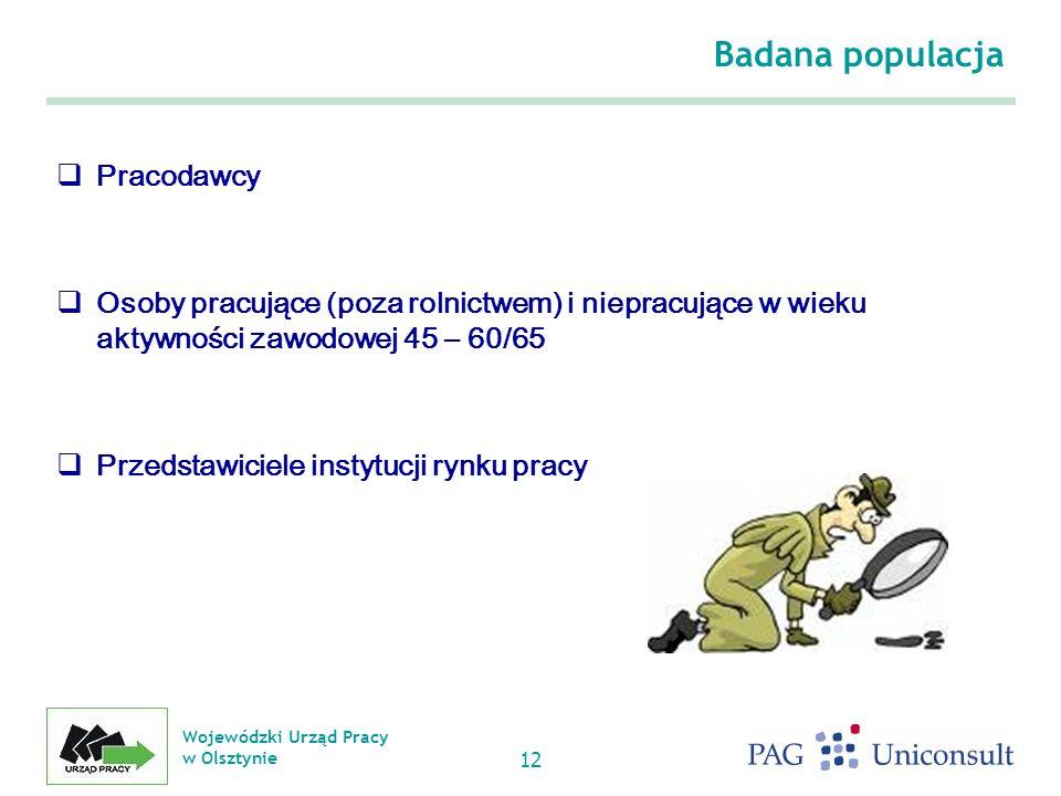Wojewódzki Urząd Pracy w Olsztynie 12 Badana populacja Pracodawcy Osoby pracujące (poza rolnictwem) i niepracujące w wieku aktywności zawodowej 45 – 60/65 Przedstawiciele instytucji rynku pracy