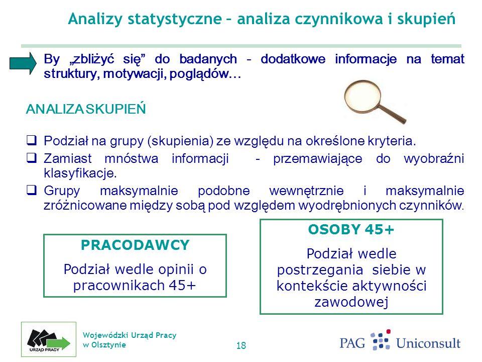 Wojewódzki Urząd Pracy w Olsztynie 18 Analizy statystyczne – analiza czynnikowa i skupień By zbliżyć się do badanych - dodatkowe informacje na temat struktury, motywacji, poglądów… ANALIZA SKUPIEŃ Podział na grupy (skupienia) ze względu na określone kryteria.