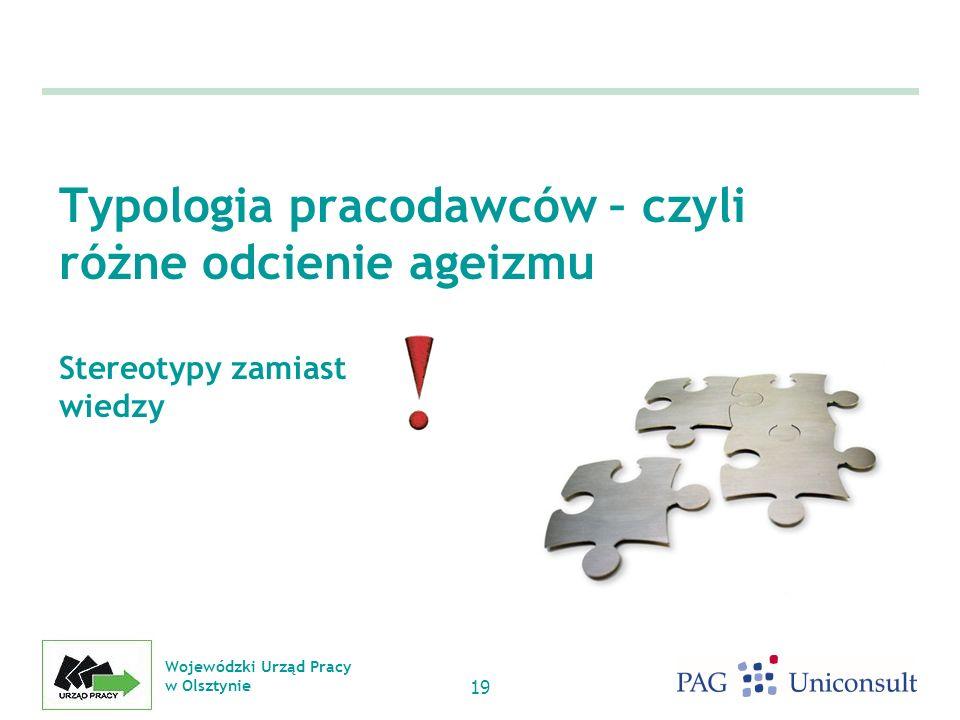 Wojewódzki Urząd Pracy w Olsztynie 19 Typologia pracodawców – czyli różne odcienie ageizmu Stereotypy zamiast wiedzy