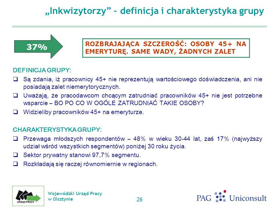Wojewódzki Urząd Pracy w Olsztynie 26 Inkwizytorzy – definicja i charakterystyka grupy DEFINICJA GRUPY: Są zdania, iż pracownicy 45+ nie reprezentują wartościowego doświadczenia, ani nie posiadają zalet niemerytorycznych.