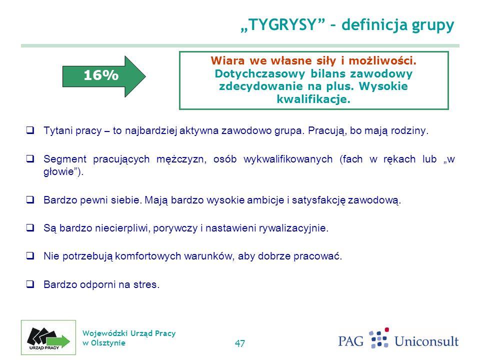 Wojewódzki Urząd Pracy w Olsztynie 47 TYGRYSY – definicja grupy Tytani pracy – to najbardziej aktywna zawodowo grupa.