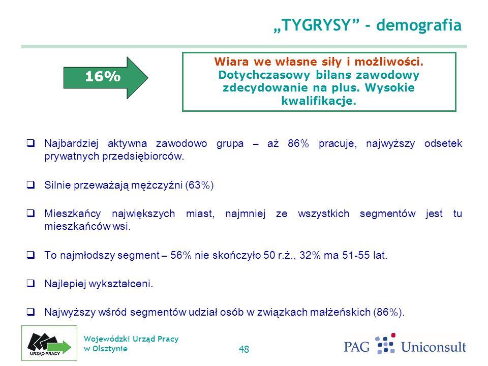 Wojewódzki Urząd Pracy w Olsztynie 48 TYGRYSY - demografia Najbardziej aktywna zawodowo grupa – aż 86% pracuje, najwyższy odsetek prywatnych przedsiębiorców.