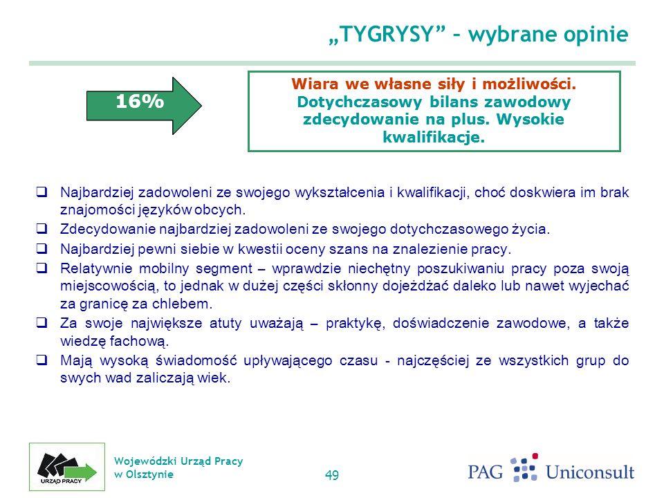 Wojewódzki Urząd Pracy w Olsztynie 49 TYGRYSY – wybrane opinie Najbardziej zadowoleni ze swojego wykształcenia i kwalifikacji, choć doskwiera im brak znajomości języków obcych.