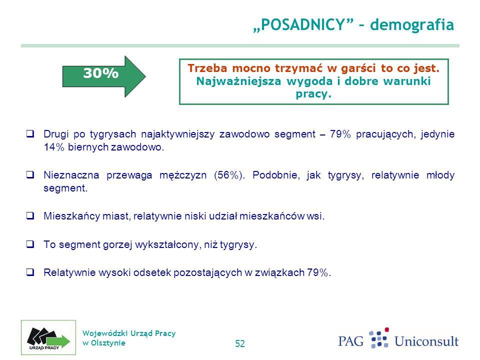 Wojewódzki Urząd Pracy w Olsztynie 52 POSADNICY – demografia Drugi po tygrysach najaktywniejszy zawodowo segment – 79% pracujących, jedynie 14% biernych zawodowo.