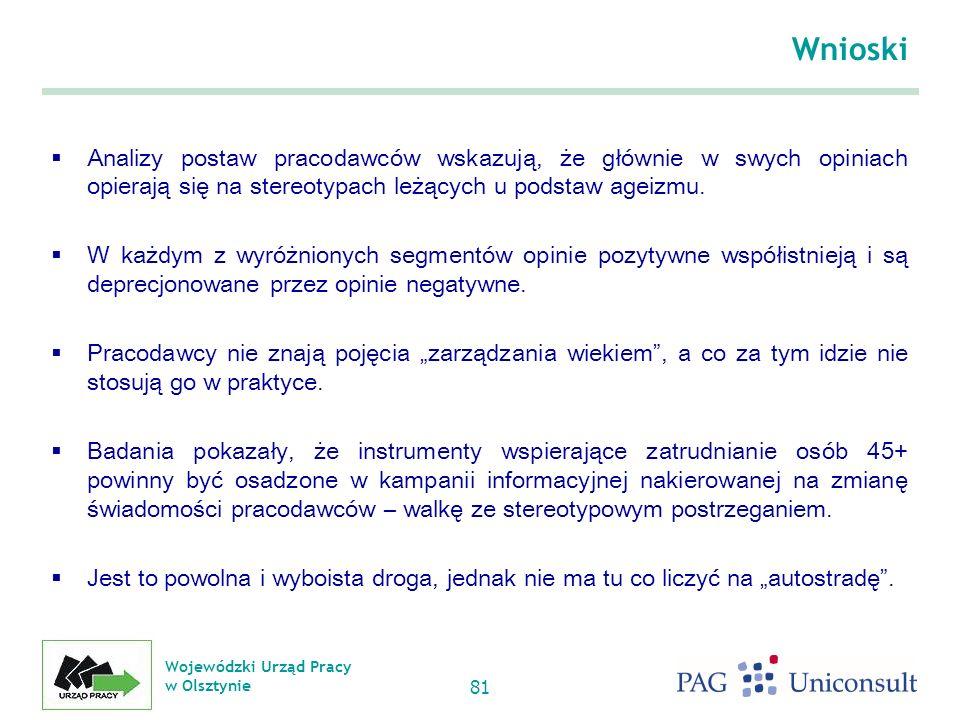 Wojewódzki Urząd Pracy w Olsztynie 81 Wnioski Analizy postaw pracodawców wskazują, że głównie w swych opiniach opierają się na stereotypach leżących u podstaw ageizmu.