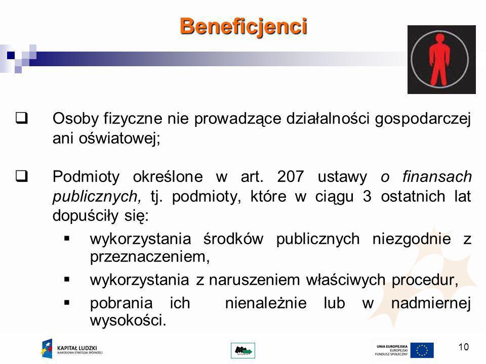 10 Beneficjenci Osoby fizyczne nie prowadzące działalności gospodarczej ani oświatowej; Podmioty określone w art.