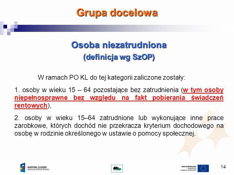 14 Grupa docelowa Osoba niezatrudniona (definicja wg SzOP) W ramach PO KL do tej kategorii zaliczone zostały: 1.