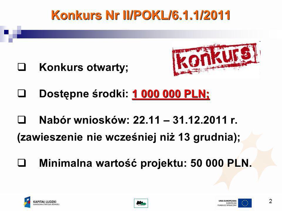 2 Konkurs Nr II/POKL/6.1.1/2011 Konkurs otwarty; Konkurs otwarty; Dostępne środki: 1 000 000 PLN; Dostępne środki: 1 000 000 PLN; Nabór wniosków: 22.11 – 31.12.2011 r.