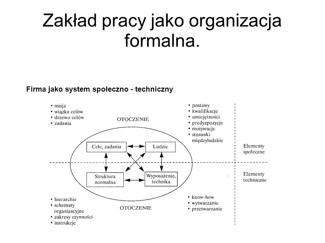 Zakład pracy jako organizacja formalna. Firma jako system społeczno - techniczny