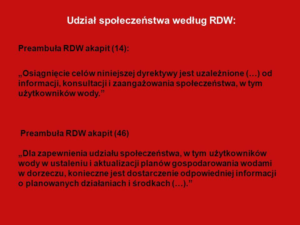 Udział społeczeństwa według RDW: Preambuła RDW akapit (14): Osiągnięcie celów niniejszej dyrektywy jest uzależnione (…) od informacji, konsultacji i zaangażowania społeczeństwa, w tym użytkowników wody.
