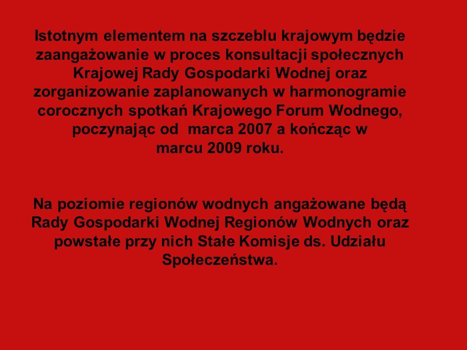 Istotnym elementem na szczeblu krajowym będzie zaangażowanie w proces konsultacji społecznych Krajowej Rady Gospodarki Wodnej oraz zorganizowanie zaplanowanych w harmonogramie corocznych spotkań Krajowego Forum Wodnego, poczynając od marca 2007 a kończąc w marcu 2009 roku.