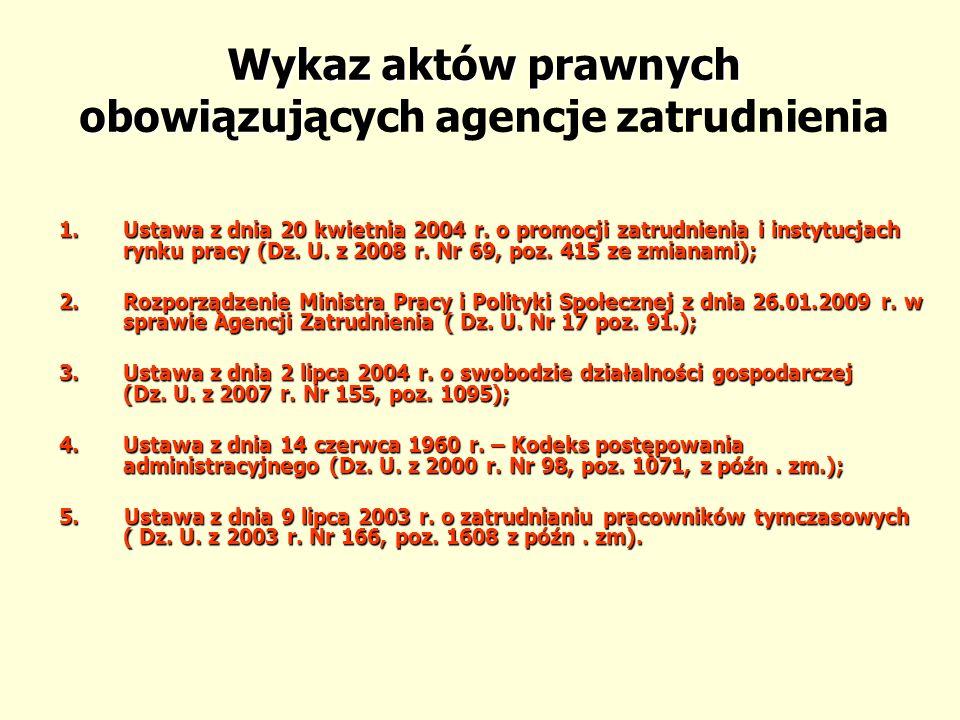 Działania WUP, związane z prowadzeniem rejestru agencji zatrudnienia 2009/2010 r.