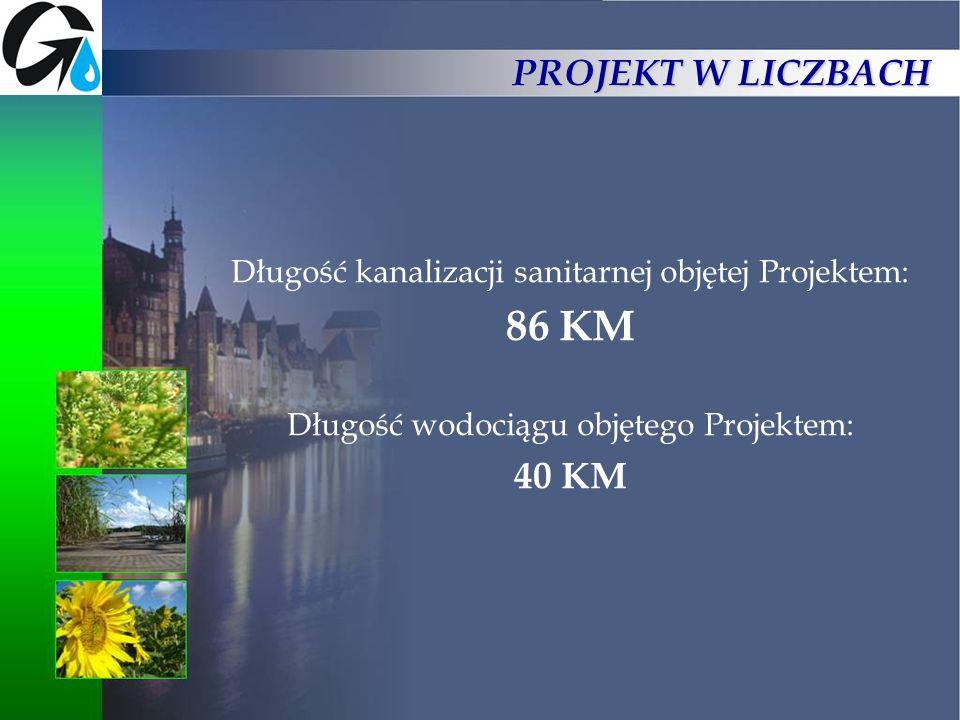 PROJEKT W LICZBACH Długość kanalizacji sanitarnej objętej Projektem: 86 KM Długość wodociągu objętego Projektem: 40 KM