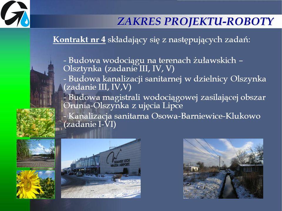 ZAKRES PROJEKTU-ROBOTY Kontrakt nr 4 składający się z następujących zadań: - Budowa wodociągu na terenach żuławskich – Olsztynka (zadanie III, IV, V)