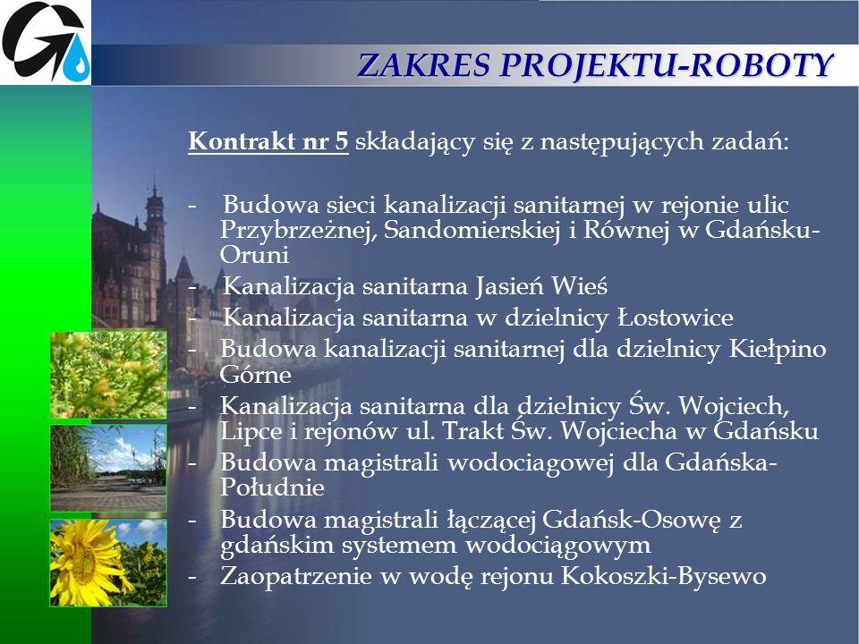 ZAKRES PROJEKTU-ROBOTY Kontrakt nr 5 składający się z następujących zadań: - Budowa sieci kanalizacji sanitarnej w rejonie ulic Przybrzeżnej, Sandomie