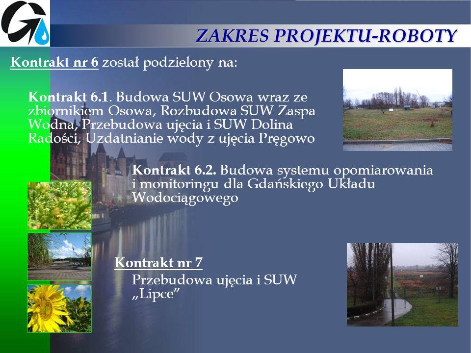 ZAKRES PROJEKTU-ROBOTY Kontrakt nr 6 został podzielony na: Kontrakt 6.1. Budowa SUW Osowa wraz ze zbiornikiem Osowa, Rozbudowa SUW Zaspa Wodna, Przebu