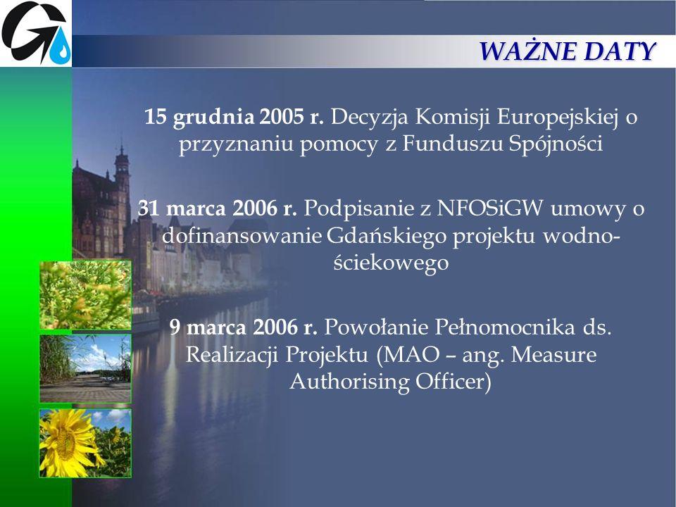 15 grudnia 2005 r. Decyzja Komisji Europejskiej o przyznaniu pomocy z Funduszu Spójności 31 marca 2006 r. Podpisanie z NFOSiGW umowy o dofinansowanie