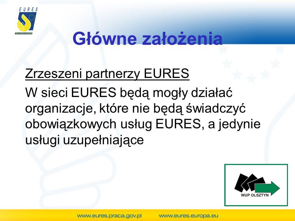 Główne założenia Zrzeszeni partnerzy EURES W sieci EURES będą mogły działać organizacje, które nie będą świadczyć obowiązkowych usług EURES, a jedynie