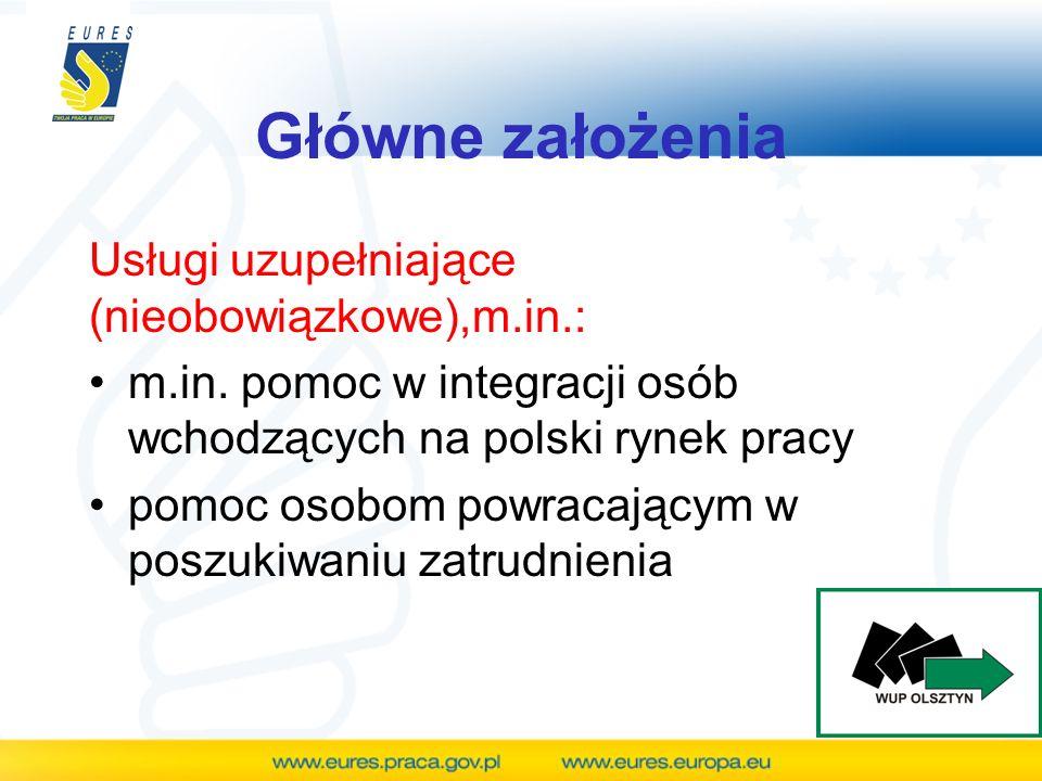 Główne założenia Usługi uzupełniające (nieobowiązkowe),m.in.: m.in. pomoc w integracji osób wchodzących na polski rynek pracy pomoc osobom powracający
