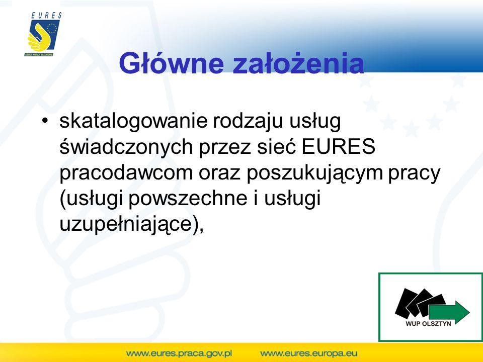 Główne założenia skatalogowanie rodzaju usług świadczonych przez sieć EURES pracodawcom oraz poszukującym pracy (usługi powszechne i usługi uzupełniaj