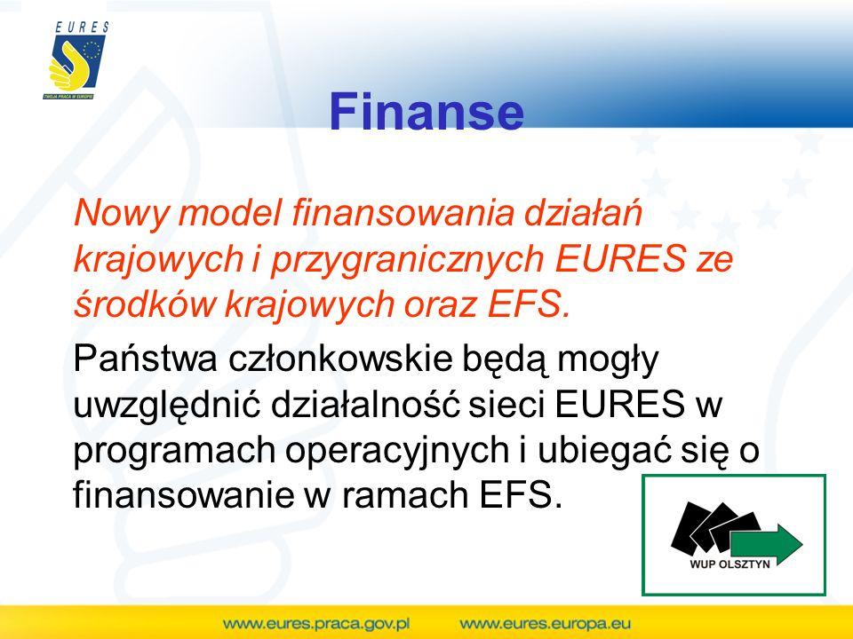 Finanse Nowy model finansowania działań krajowych i przygranicznych EURES ze środków krajowych oraz EFS. Państwa członkowskie będą mogły uwzględnić dz