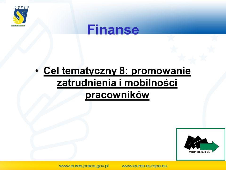 Finanse Cel tematyczny 8: promowanie zatrudnienia i mobilności pracowników