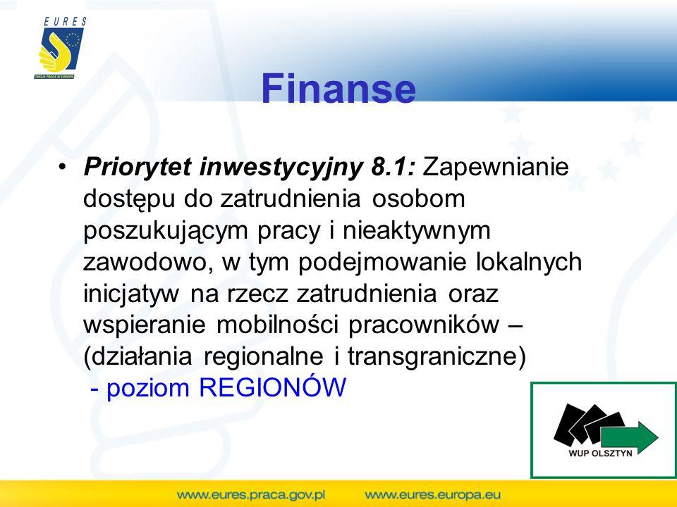 Finanse Priorytet inwestycyjny 8.1: Zapewnianie dostępu do zatrudnienia osobom poszukującym pracy i nieaktywnym zawodowo, w tym podejmowanie lokalnych
