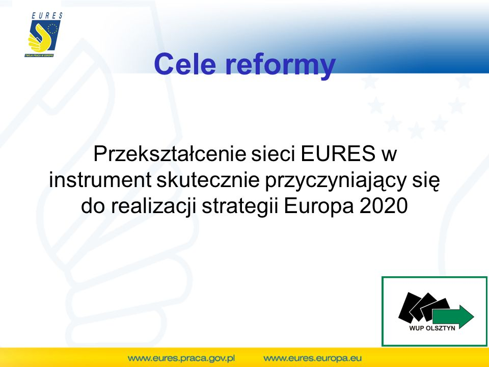 Cele reformy Z rocznej analizy wzrostu gospodarczego, wykonanej przez KE wynika, że zaledwie 2, 8 % ludności UE w wieku produkcyjnym mieszka i pracuje poza ojczyzną- w innym państwie członkowskim…